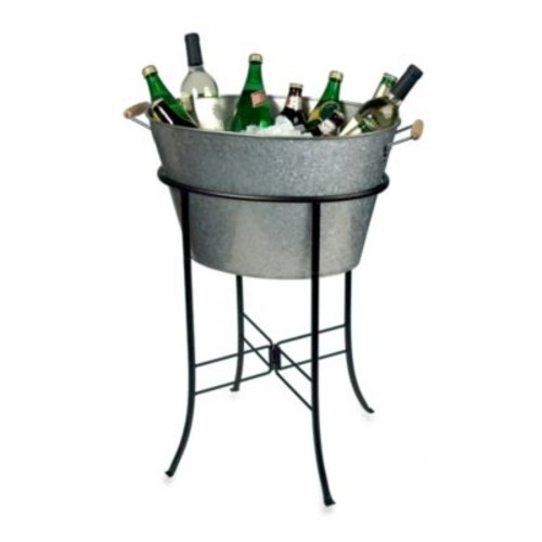 Artland Oasis Galvanized Steel Oval Party Tub with Stand