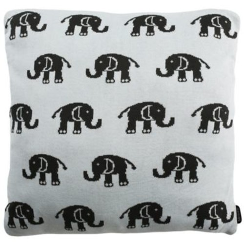 Safavieh Baby Elephant Square Throw Pillow in Sky Blue/Charcoal