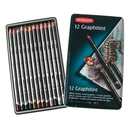 Derwent Graphitint Pencils, Assorted Colors, Set Of 12