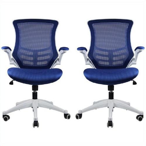 Manhattan Comfort Lenox Mesh Adjustable Royal Blue Office Chair (Set of 2)