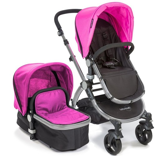 babyroues letour II Bassinet and Stroller Frosted Silver Frame System in Pink
