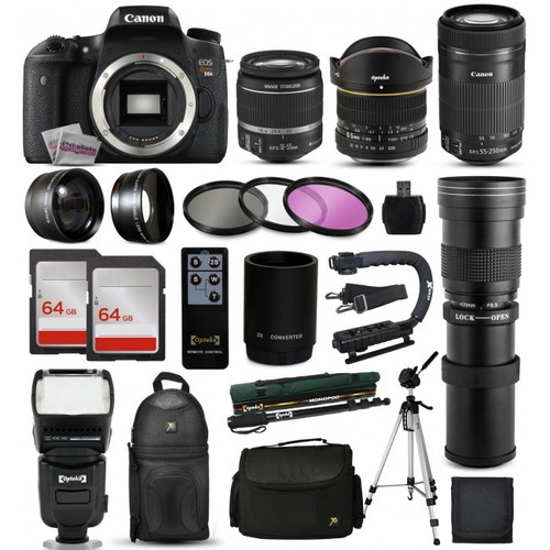 Canon T6s DSLR Camera + 18-55mm IS II + 55-250mm STM + 420-800mm + 128GB + More