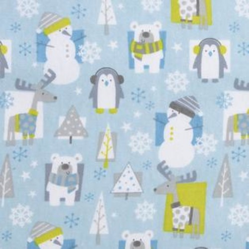 Trend Lab Snow Pals Blue Flannel Deluxe Fitted Crib Sheet