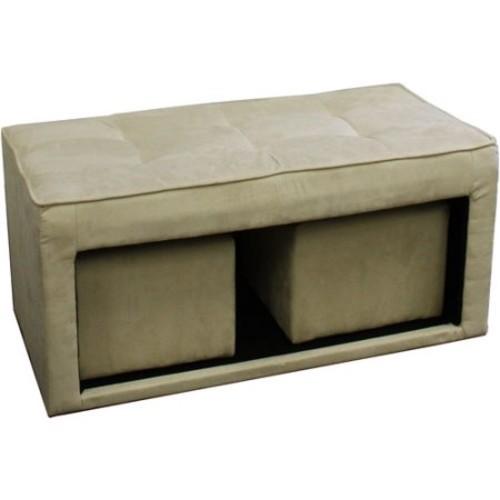 ORE International Beige Ottoman Bench