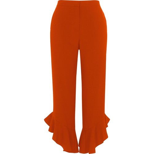 Red frill hem straight leg cropped pants