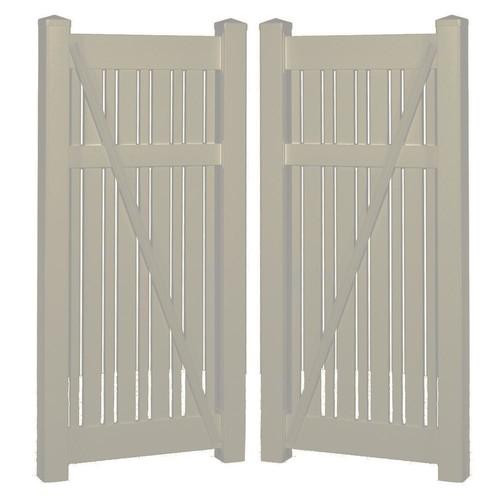 Weatherables Davenport 7.8 ft. x 5 ft. Khaki Vinyl Semi-Privacy Fence Gate