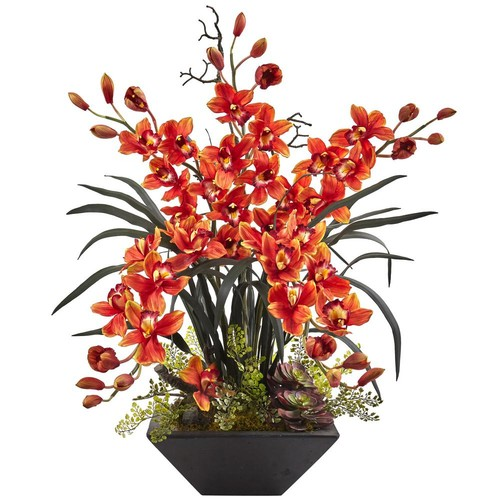Nearly Natural Cymbidium Orchid with Black Vase