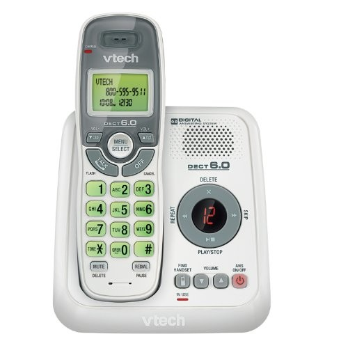 VTech CS6124 DECT 6.0 Cordless Phone with Answering System and Caller ID/Call Waiting, White with 1 Handset [With Answering System]