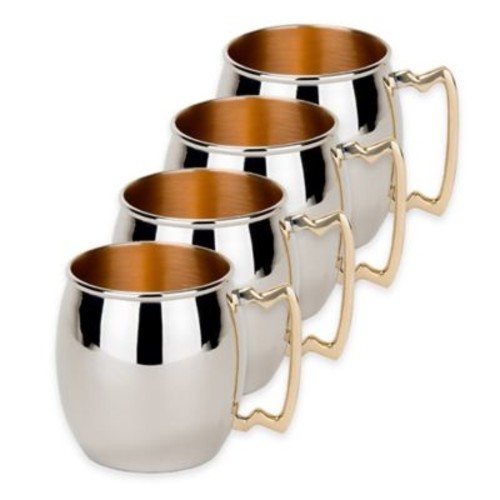 Dutch International Nickel-Plated Solid Copper Hammered Moscow Mule Mugs (Set of 4)