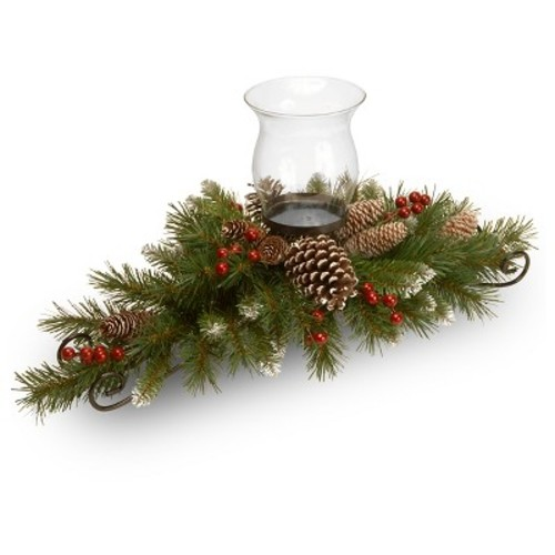 National Tree Company Artificial Pine & Berry Candle Holder