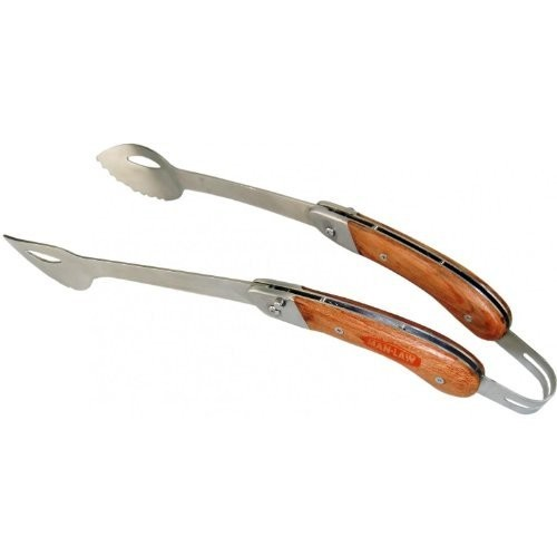 Man Law BBQ Products MAN-FT1-T Open Stock Folding Tongs, One Size, Stainless Steel and Rosewood