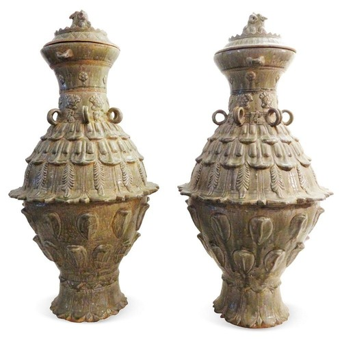 Ethnika Home Decor And Antiques Tang-Style Celadon Vases, Pair