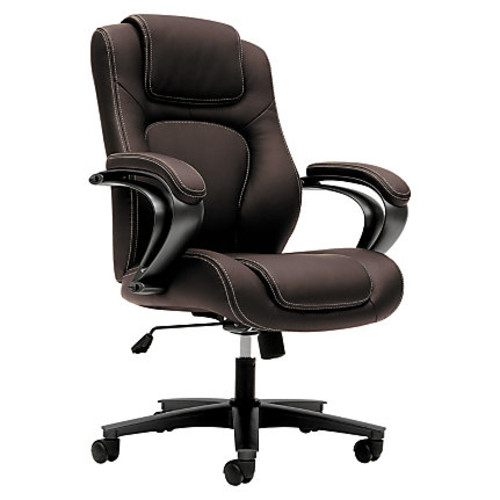 basyx by HON High-Back Chair With Padded Arm Rests, Brown