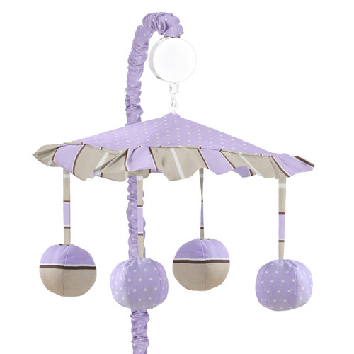 Sweet Jojo Designs Mod Dots Collection Purple and Chocolate Fabric Wind-up Musical Mobile