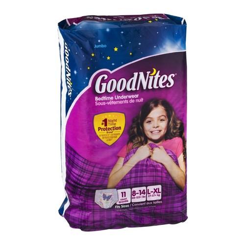GoodNites Underwear, Bedtime, Size 8-14/L-XL (60-125+ lb), Jumbo, 11 pair