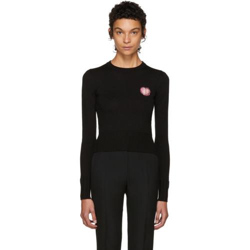 SAINT LAURENT Black Swarovski Heart Sweater