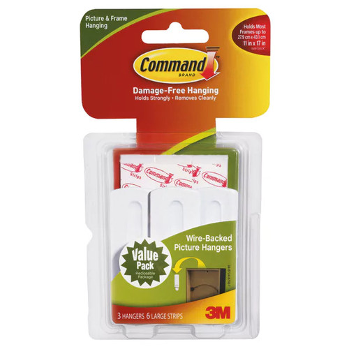 Command Wire-Back Picture Hanging Hooks Value Pack, White, 3/Pack (17043-ES)