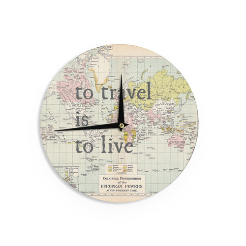 KESS InHouse Catherine Holcombe 'To Travel Is To Live' Color Map Wall Clock