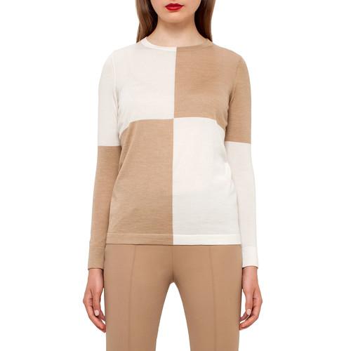 AKRIS Colorblock Crewneck Sweater, Camel/Moonstone