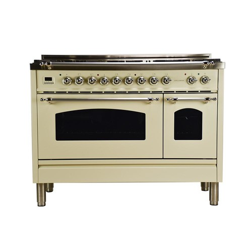 Hallman 48 in. 5.0 cu. ft. Double Oven Dual Fuel Italian Range with True Convection 7-Burners and Griddle in Antique White