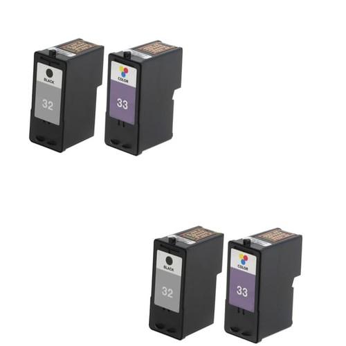 4 Pack Lexmark 18C0032 #32 18C0033 #33 Compatible Ink Cartridge For Lexmark Z810 Z812 ( Pack of 4 )
