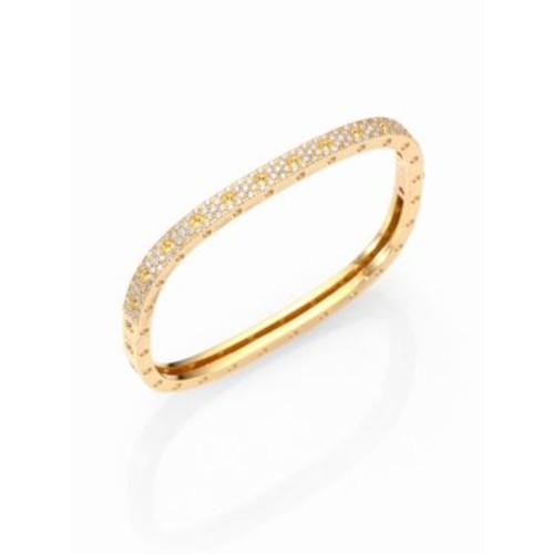Pois Moi Pav Diamond & 18K Yellow Gold Single-Row Bangle Bracelet