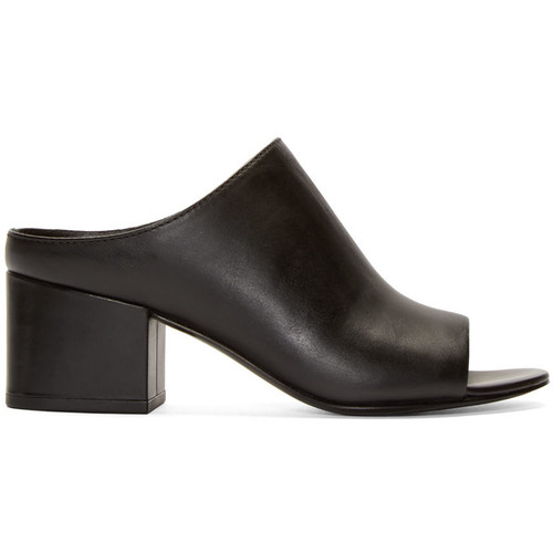 'Cube' leather mules