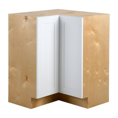 Hampton Bay Cambridge Assembled 27.6x34.5x27.6 in. Lazy Susan Corner Base Cabinet in White