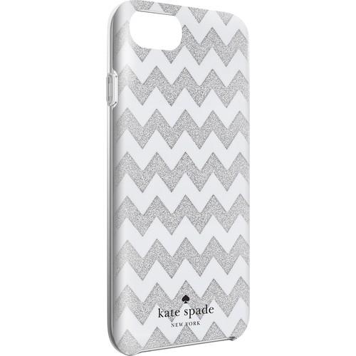 kate spade new york - Protective Hardshell Case for Apple iPhone 7 - Glitter silver/Chevron cream