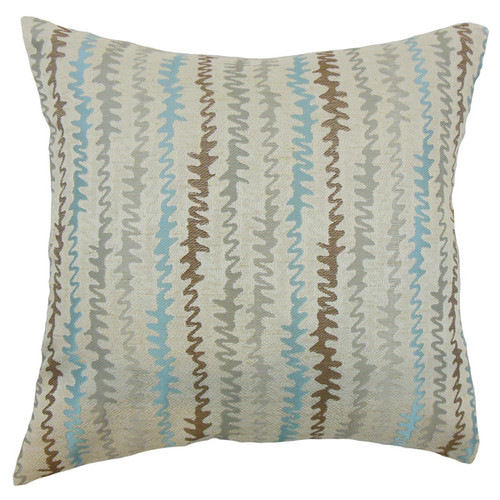 Malu Zigzag Down and Feather Filled Throw Pillow with Hidden Zipper Closure 18-inch Placid