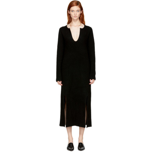 ROSETTA GETTY Black Cashmere Slit Front Sweater Dress