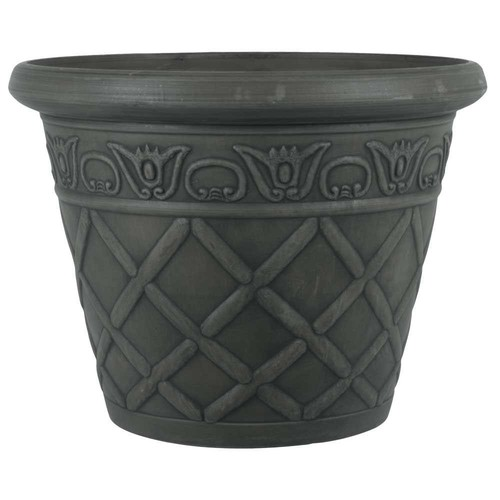 Pride Garden Products 12 in. Dia Lattice Charcoal Plastic Planter