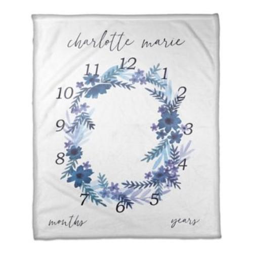 Designs Direct Watercolor Milestone Throw Blanket in Blue
