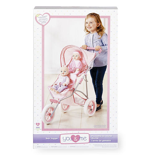 You & Me Twin Doll Jogger Stroller - Pink