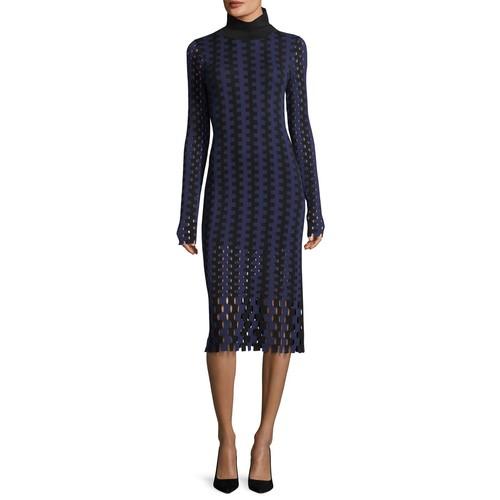 DIANE VON FURSTENBERG Turtleneck Long-Sleeve Knit Intarsia Midi Dress