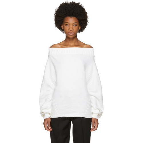 OPENING CEREMONY White Wool Off-The-Shoulder Sweater