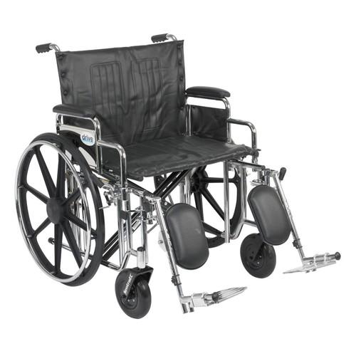 Drive Medical Sentra Extra Heavy Duty Wheelchair, Desk Arms, Leg rest, 24