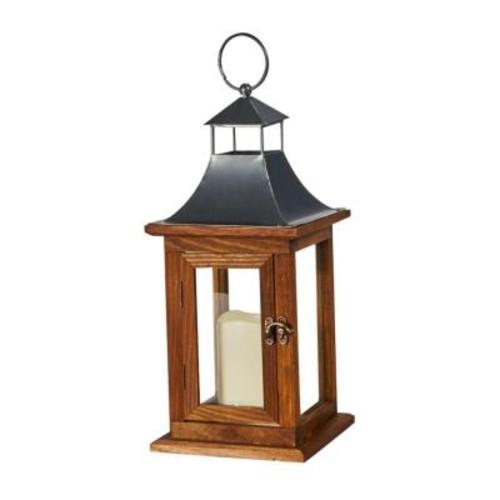 Smart Solar Portland 14 in. LED Candle Wooden Lantern
