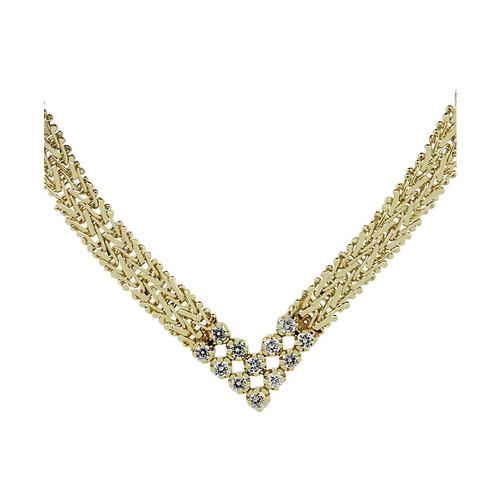 14k Yellow Gold Diamond Mesh Necklace