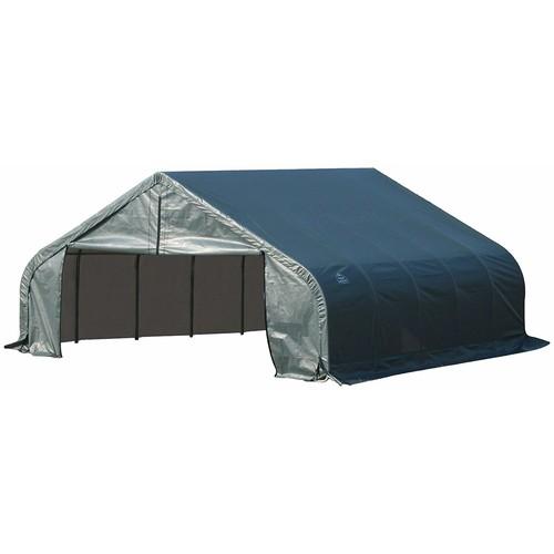 ShelterLogic Peak Style Garage/Storage Shelter - Green, 28ft.L x 18ft.W x 10f...
