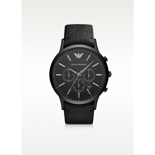 Black Stainless Steel & Leather Strap Men's Watch
