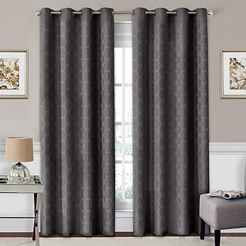 SolarShield Coleman 63-Inch Grommet Top Room-Darkening Window Curtain Panel in Smoke