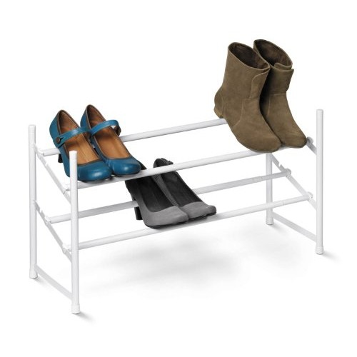 Honey-Can-Do SHO-01167 2-Tier Expandable Shoe Rack, White [White]