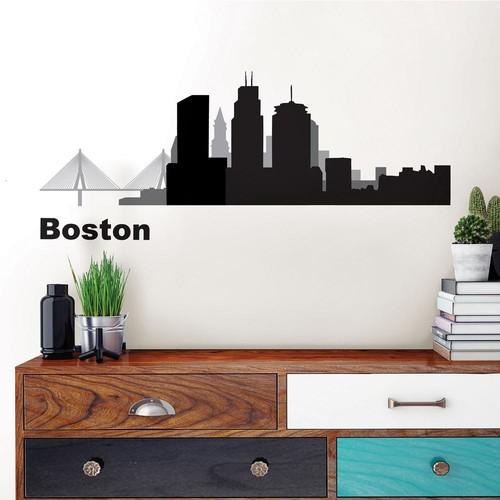 WallPOPs Boston Black Cityscape Wall Art Kit