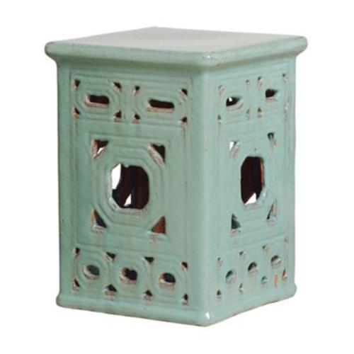 Emissary Lattice Square Frame Garden Stool; Turquoise Blue