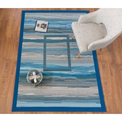 Ebern Designs Donatien Contemporary Striped Design Non-Slip Gray Area Rug; 5' x 8'