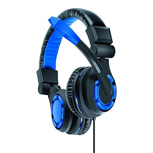 dreamGEAR: GRX-340 Advanced, Wired Stereo Gaming Headset for PS4 Includes Inline Dual Volume Control For Chat and Game Sounds. Also works with XBOX One, and other systems [Blue]