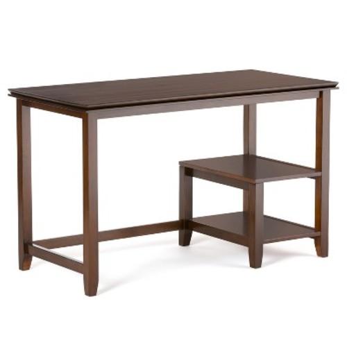 Simpli Home Artisan Medium Auburn Brown Desk with Storage