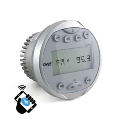 BT Marine Media Receiver Stereo Radio (USB/MP3 & AUX Inputs) AM/FM Radio, Round/Circle, Silver