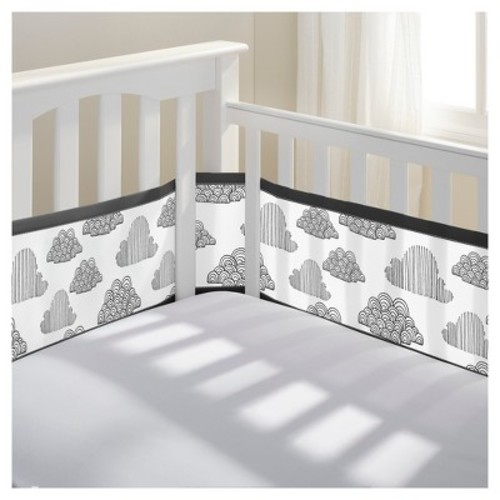 BreathableBaby Mesh Crib Liner - In the Clouds - Black/White